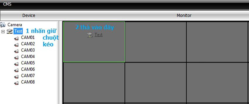 Cách xem lại camera CMS - Hiển thị camera