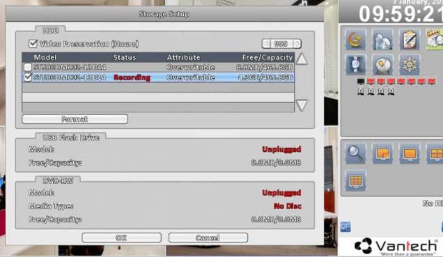 Các thông tin lưu trữ trên đầu ghi hình của camera Vantech